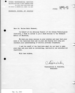 LETTER OF WELCOME FROM THE C.A. DOXIADIS
