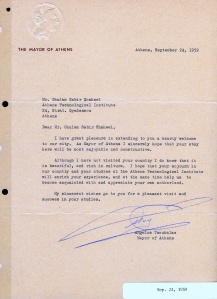 LETTER OF WELCOME BY THE MAYOR OF ATHENS