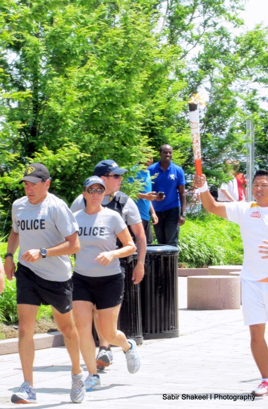Arrival of Pan Am Games Torch at the Aboriginal Pavilion in Canada Square @ 2:01:15 pm
