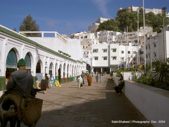 Morocco, Moulay Idris: View of the plaza before the shrine